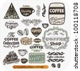 Set of vintage retro coffee labels, engraving cups and coffee beans. Vintage frames and badges for design - stock photo