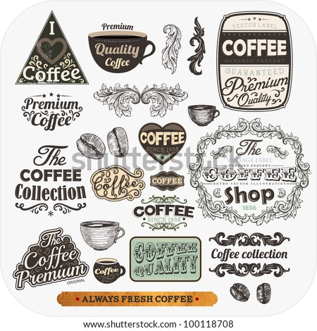 Set of vintage retro coffee labels, engraving cups and coffee beans. Vintage frames and badges for design - stock vector