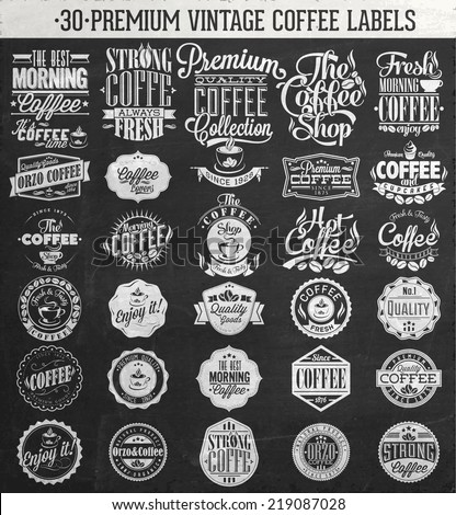 Set Of Vintage Retro Coffee Labels On Chalkboard. Coffee decoration collection | Set of calligraphic and typographic elements styled design, frames, vintage labels. Vector. - stock vector