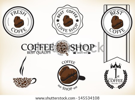 Set of vintage retro coffee shop badges and labels - stock vector