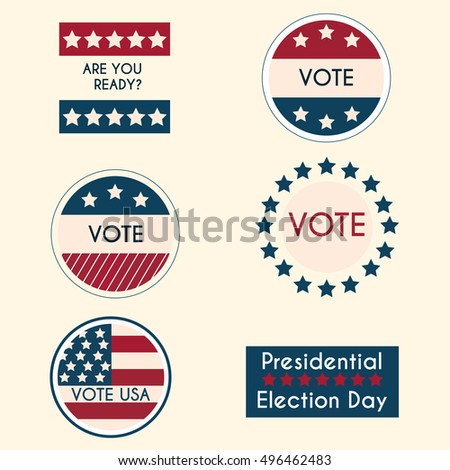 Set of vintage retro election badges and labels
