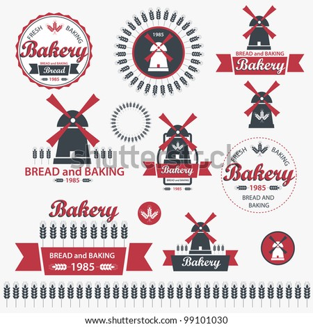 Set of vintage retro elements for bakery. Vector - stock vector