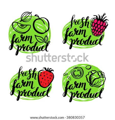 Set of vintage retro farm logo. Label and design elements. Handwritten elements. Logo. Lettering. Hand drawn vector illustration. Farmers market. Natural, organic, fresh, food. Fruits and vegetables.