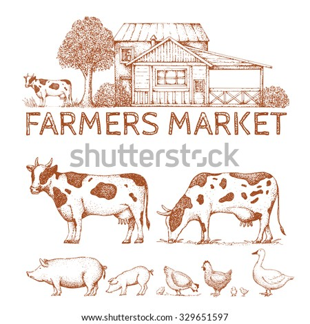 Set of vintage retro farm logo. Labels and design elements. Tree, animals, house. Logotype. Hand drawn illustration. Farmers market. Cow, goose, pig, chicken.