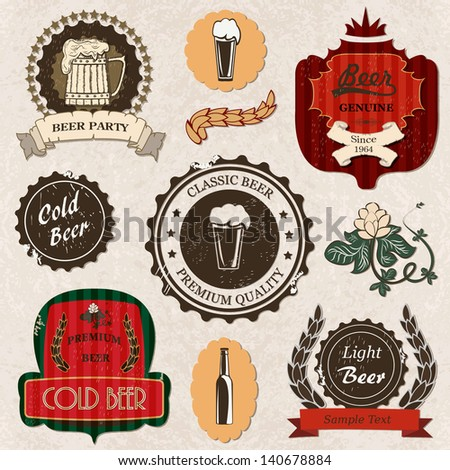 Set of vintage retro grunge  beer labels and icons - stock vector