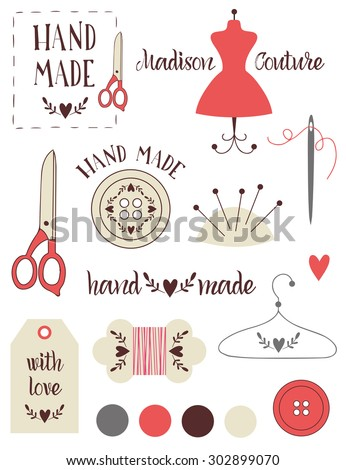 Set of vintage retro handmade badges, labels and logo elements, retro symbols for local sewing shop, knit club, handmade artist or knitwear company. Template logo. Vector. - stock vector