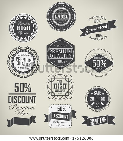 Set of vintage retro labels