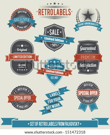 Set of vintage retro labels and banners, calligraphic design elements