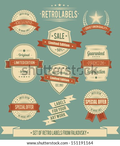 Set of vintage retro labels, calligraphic elements - stock vector