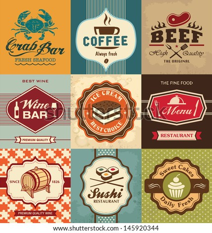 Set of vintage retro labels for food, coffee, seafood, bakery, restaurant cafe and bar - stock vector