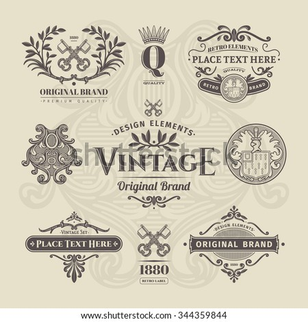 Set of vintage retro labels, stamps, ribbons, marks and frames. Design elements in vector. - stock vector
