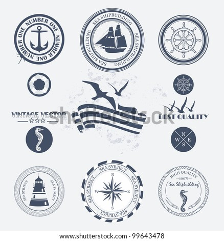 Set of vintage retro nautical badges and labels - stock vector