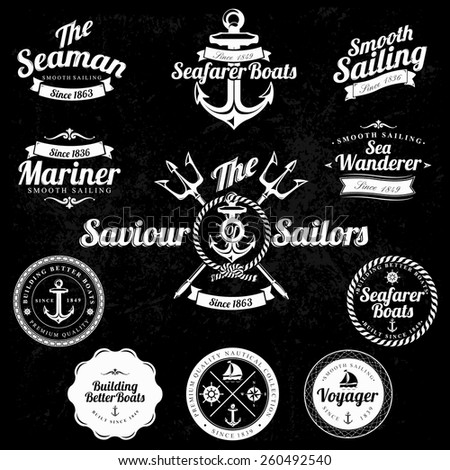 Set Of Vintage Retro Nautical Badges And Labels on chalkboard - stock vector