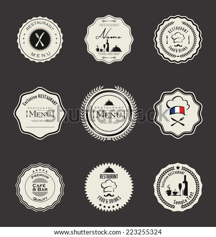 Set of vintage retro restaurant badges - stock vector