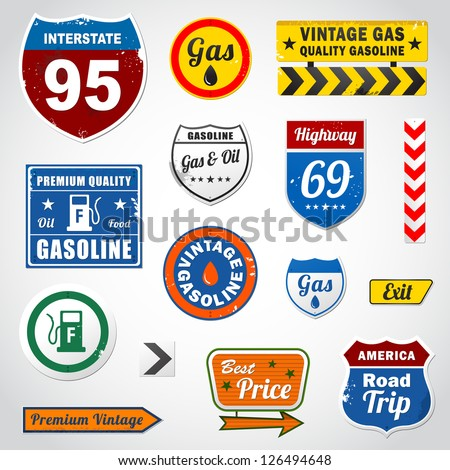 Set of vintage retro signs and labels eps 10 - stock vector