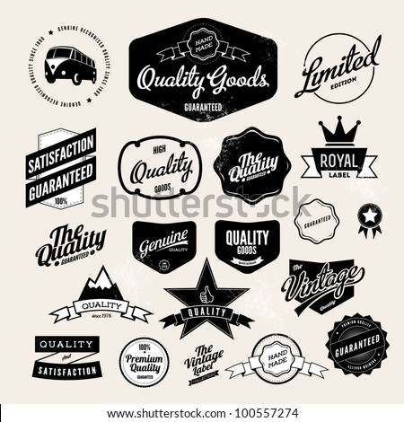 Set of Vintage Retro Styled Quality Labels