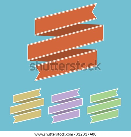 set of vintage ribbon banner in different colors - stock vector