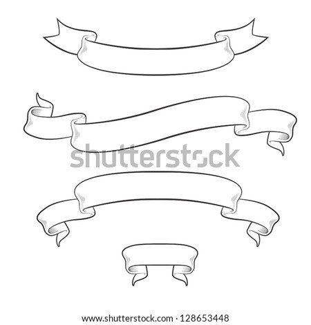 Set of 4 vintage ribbons isolated on white background - stock vector