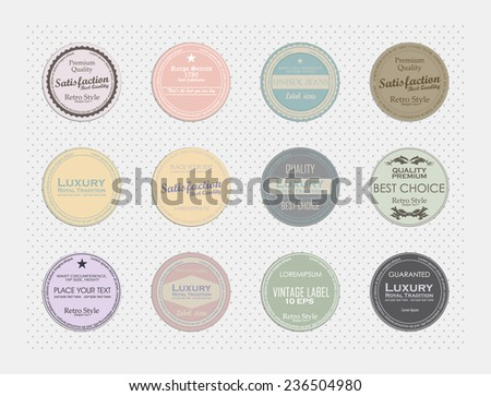Set of vintage round labels. royal label vintage pastel colors - stock vector