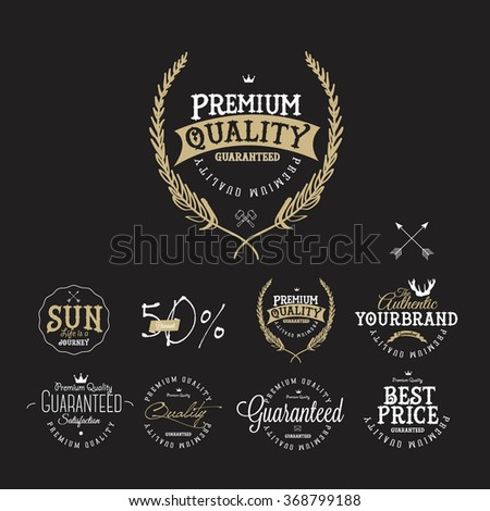 Set of Vintage Sales Label and Premium Quality Stickers and Badge - stock vector