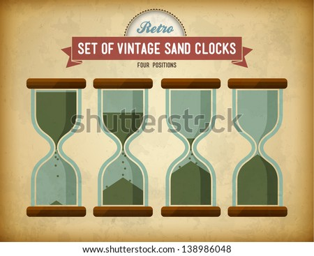 Set of vintage sand clocks on grungy card - stock vector