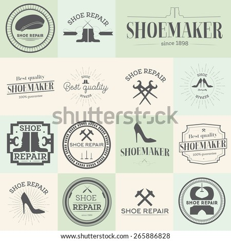 Set of vintage shoes repair and shoemaker labels, emblems and designed elements Vector illustration - stock vector