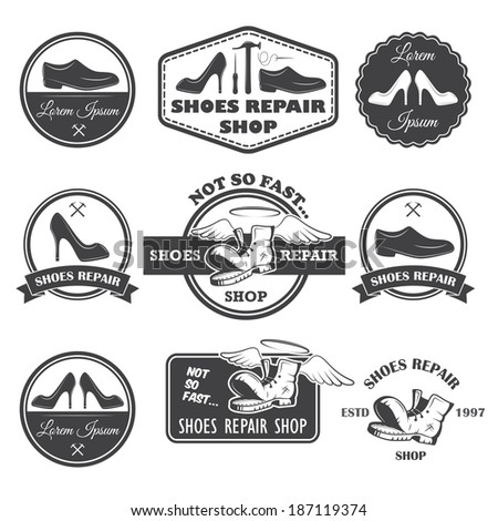 Set of vintage shoes repair labels, emblems and designed elements. - stock vector