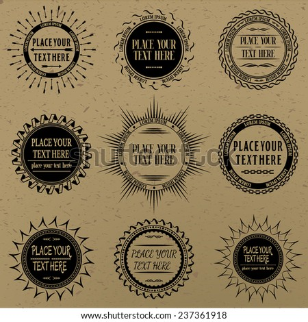 Set of vintage signs and labels. - stock vector