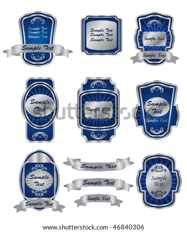 Set of vintage silver labels for design food and beverages. Jpeg version is also available - stock vector