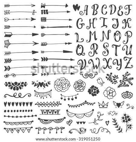 Set of vintage sketch elements. Vector decoration collection. Hand drawn flowers and leaves, arrows and page decor. - stock vector