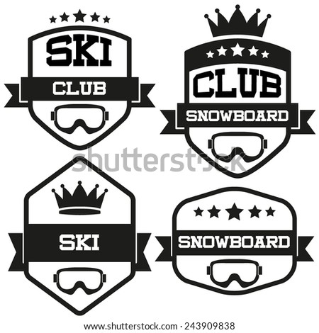 Set of Vintage SKI and Snowboard Club Badge and Label with helmets. Emblem of sport team and event. Vector isolated on background. - stock vector