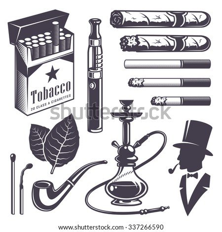 Set of vintage smoking tobacco elements. Monochrome style. Isolated on white background. - stock vector
