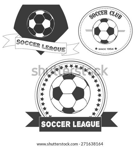 Set of vintage  soccer emblems. Illustration of soccer labels. Soccer Football Typography Badge Design Element. Soccer league vector  - stock vector