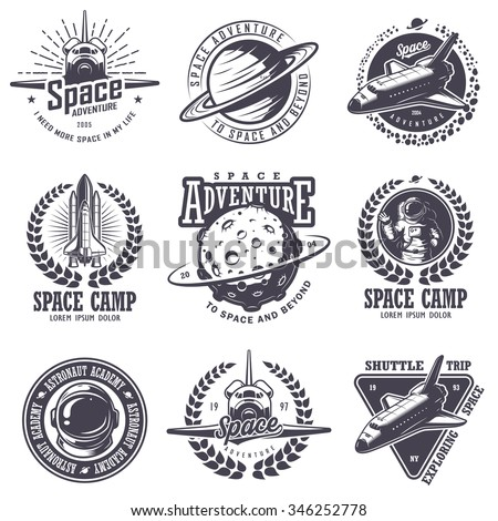 Set of vintage space and astronaut badges, emblems, logos and labels. Monochrome style - stock vector