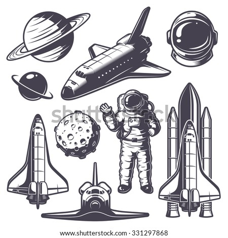 Set of vintage space elements. Monochrome style - stock vector
