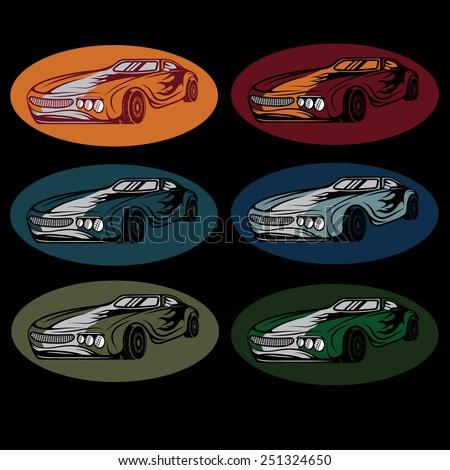 set of vintage sport car - stock vector