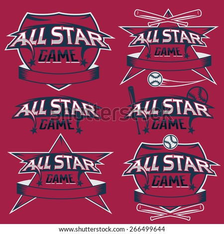 set of vintage sports all star crests with baseball theme