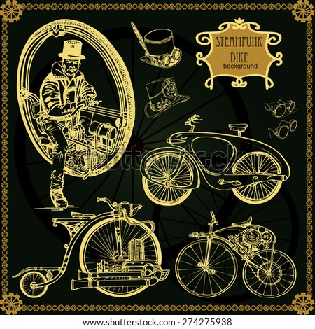 Set of vintage steam bike. Steampunk style. - stock vector
