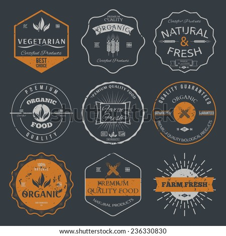 Set of vintage style elements for labels and badges for organic food and drink, on the nature background vector - stock vector
