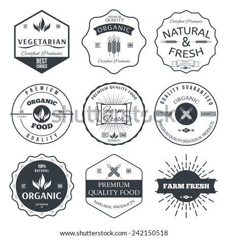 Set of vintage style elements for labels and badges for organic food and drink vector - stock vector