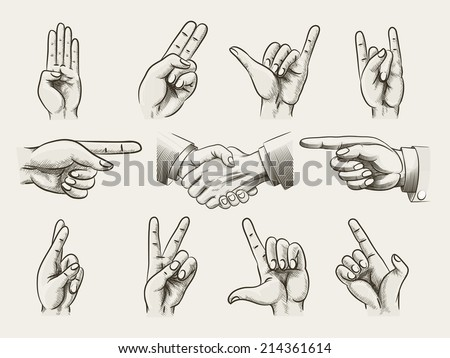 Set of vintage style hand gestures showing counting  hard rock horns  v-sign for peace or victory  pointing and two businessmen in a handshake  vector drawings - stock vector