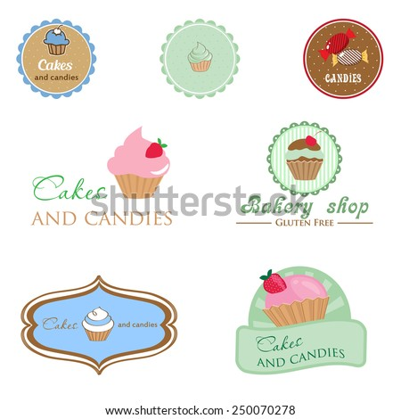 Set of vintage style logo with cupcake and candies. Good idea for label, banner, logo or other design - stock vector