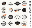 Set of vintage style premium quality badges and labels for designers. Vector illustrations for e-commerce, product promotion, advertising, sell products, discounts, sale, the mark of quality. - stock vector