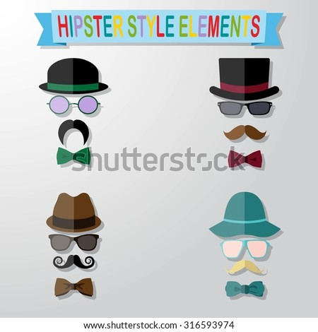 Set of vintage style silhouette people with hats, mustaches, glasses and bow ties - stock vector