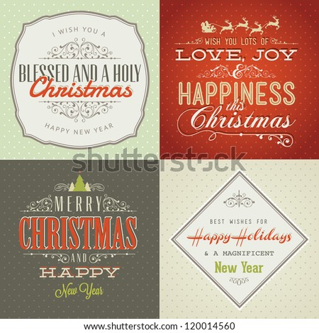 Set of vintage styled Christmas and New Year cards. Vintage decoration, background, typographic, labels and elements for Christmas - stock vector