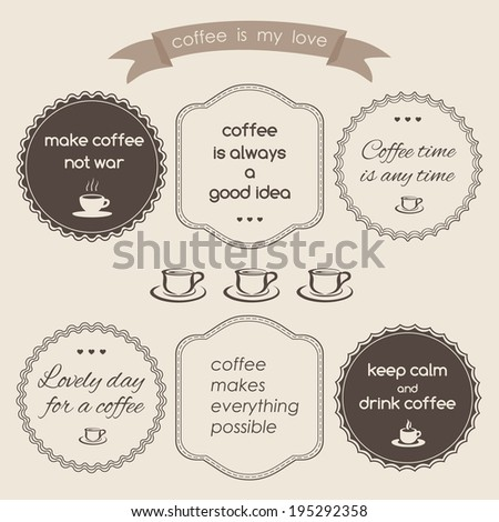Set of vintage styled design hipster icons. coffee theme - stock vector
