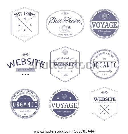Set of vintage styled design Hipster logo. - stock vector