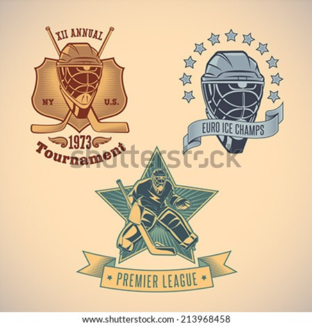 Set of vintage styled ice hockey tournament labels. Editable vector illustration. - stock vector