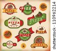 Set 1 of vintage styled pizza labels - stock vector