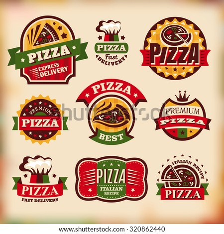 Set of vintage styled pizza labels - stock vector